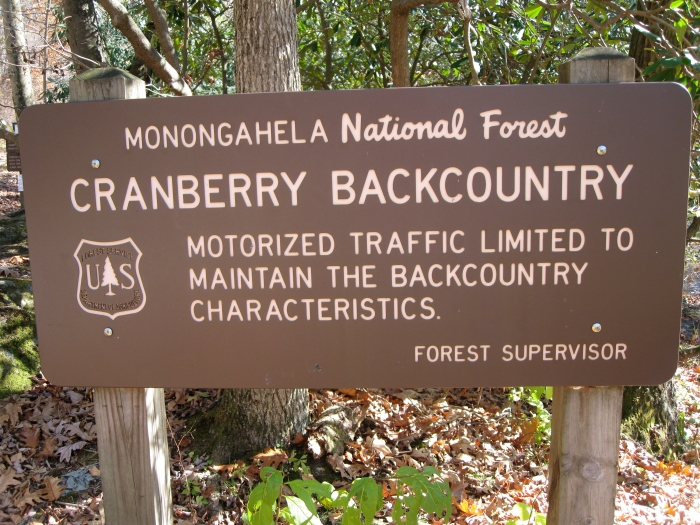 Entrance Sign for the Cranberry Backcountry