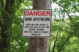 Danger Dam Upstream Sign