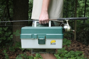 Carrying Tackle Box and Fishing Pole