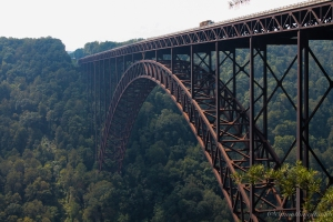 The New River Gorge Bridge from the Canyon Rim Visitor Center Boardwalk.